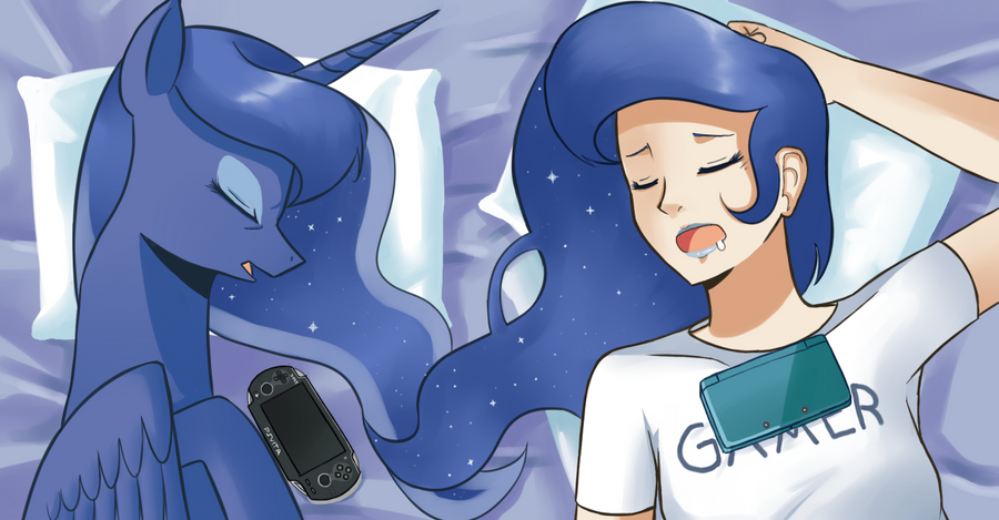 Gamer Luna's all-nighter by Sallymon
