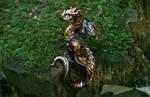 Steampunk black and gold dragon figurine