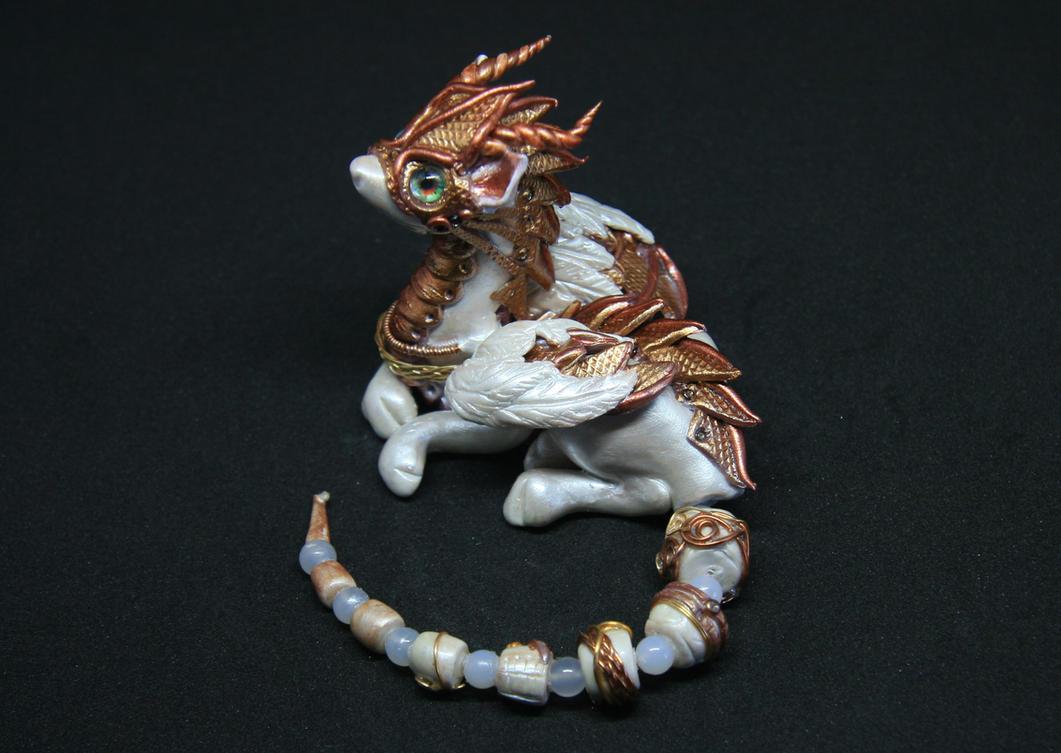 Tyo - Steampunk white and gold dragon figurine by Akalewia