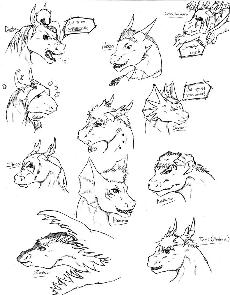 Akatsuki Dragon Sketches by nightwindwolf95