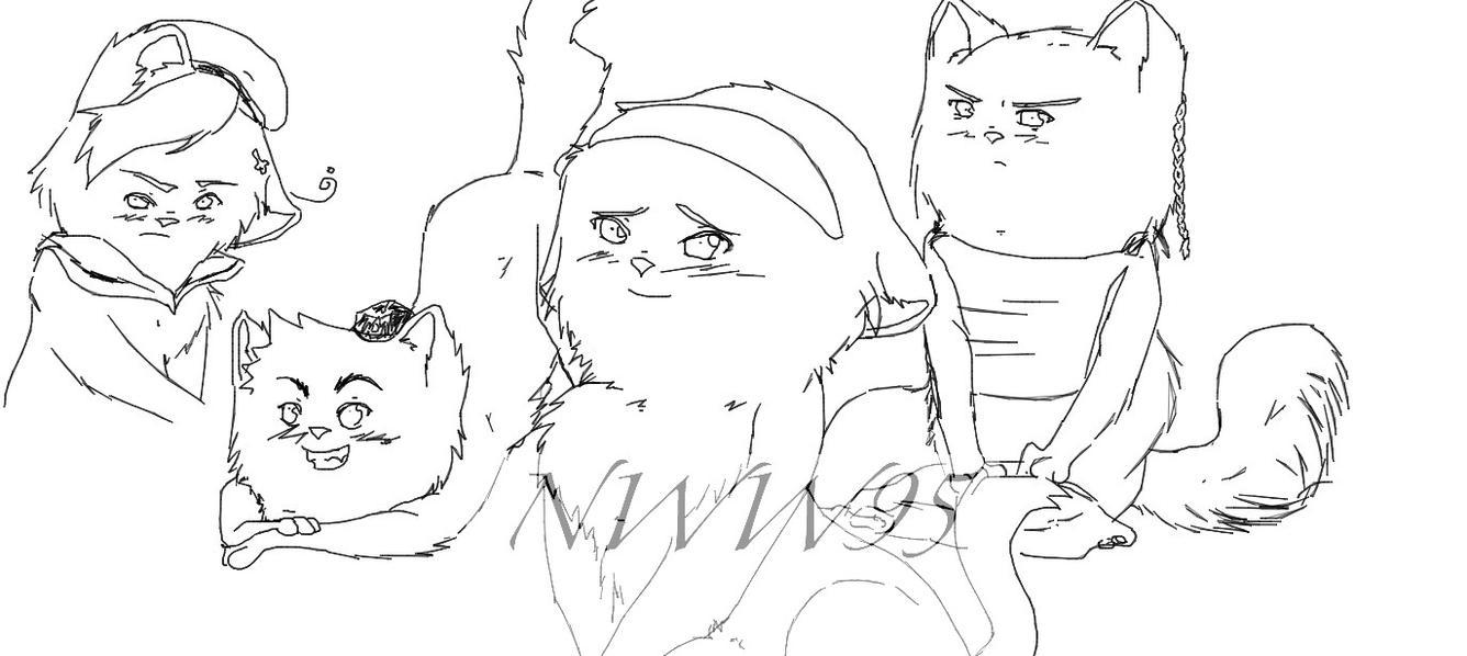 Some Hetalia cat sketches by nightwindwolf95