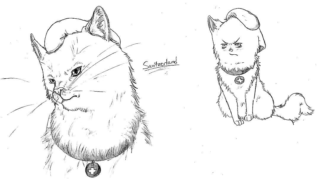Cat Switzerland doodle by nightwindwolf95