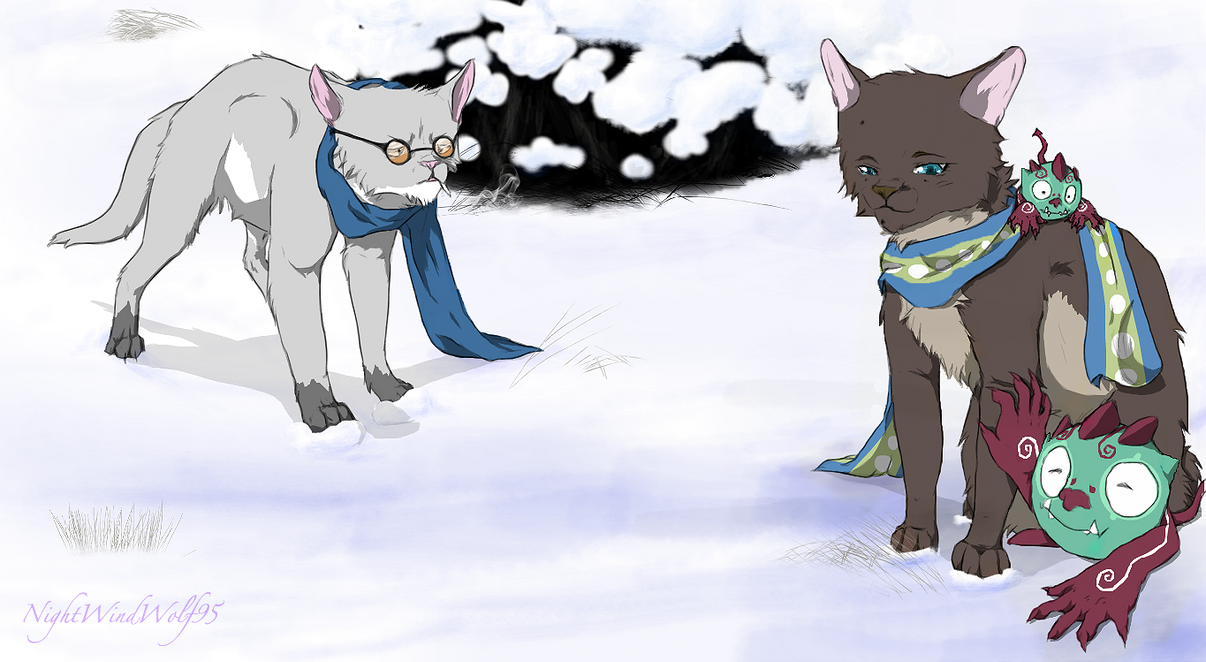 Blue Exorcist Cats: Shiro and Yuri by nightwindwolf95