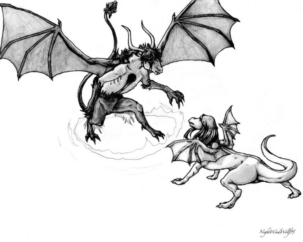 dragon Ulquiorra and Orihime WIP by nightwindwolf95