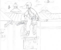 Tamaki Chilling On His Sword