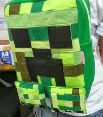Handmade Minecraft Creeper Fan Art Backpack