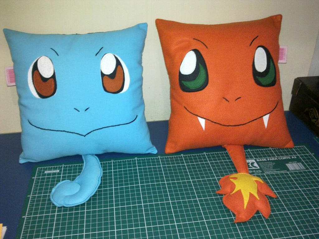 Animal Body Pillow Pattern : Handmade Pokemon Squirtle and Charmander Pillows by RbitencourtUSA