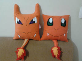 Handmade Pokemon Charmander and Charizard Pillows by RbitencourtUSA