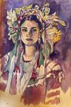Gouache Portrait Zapoteca