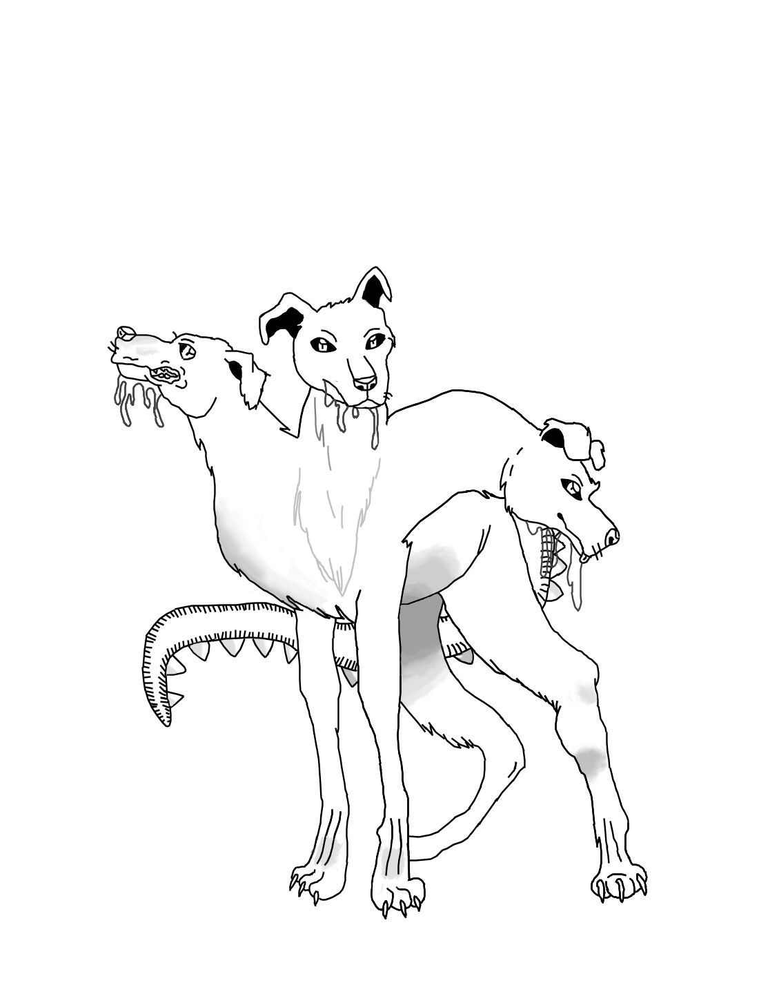 Picture Of Hades And Cerberus Coloring Page Cat The Cobbler