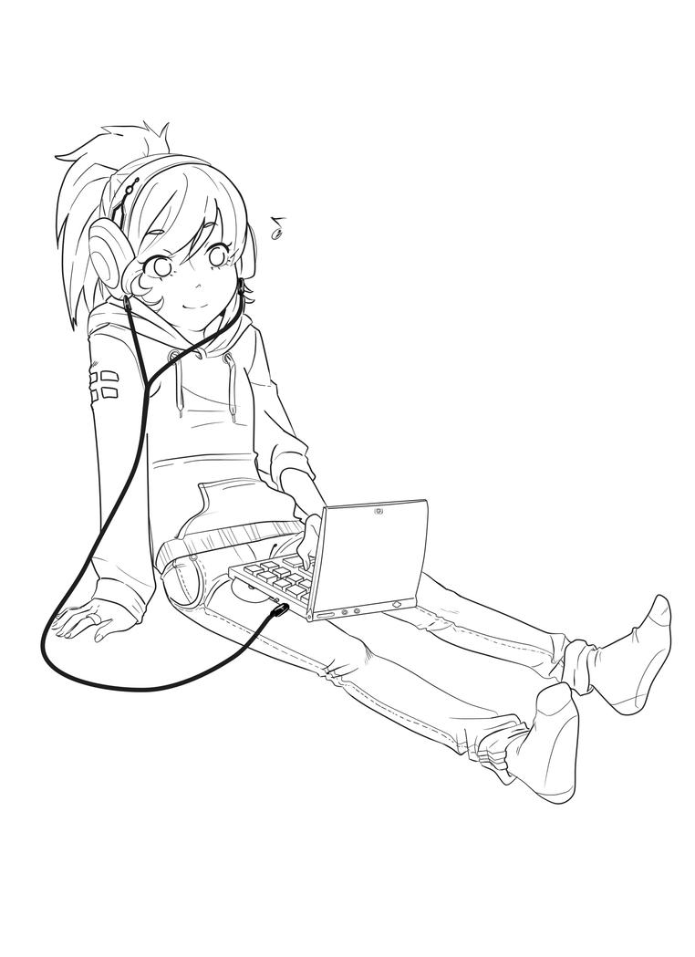 Line Drawing Music : Music girl lineart by addixii on deviantart