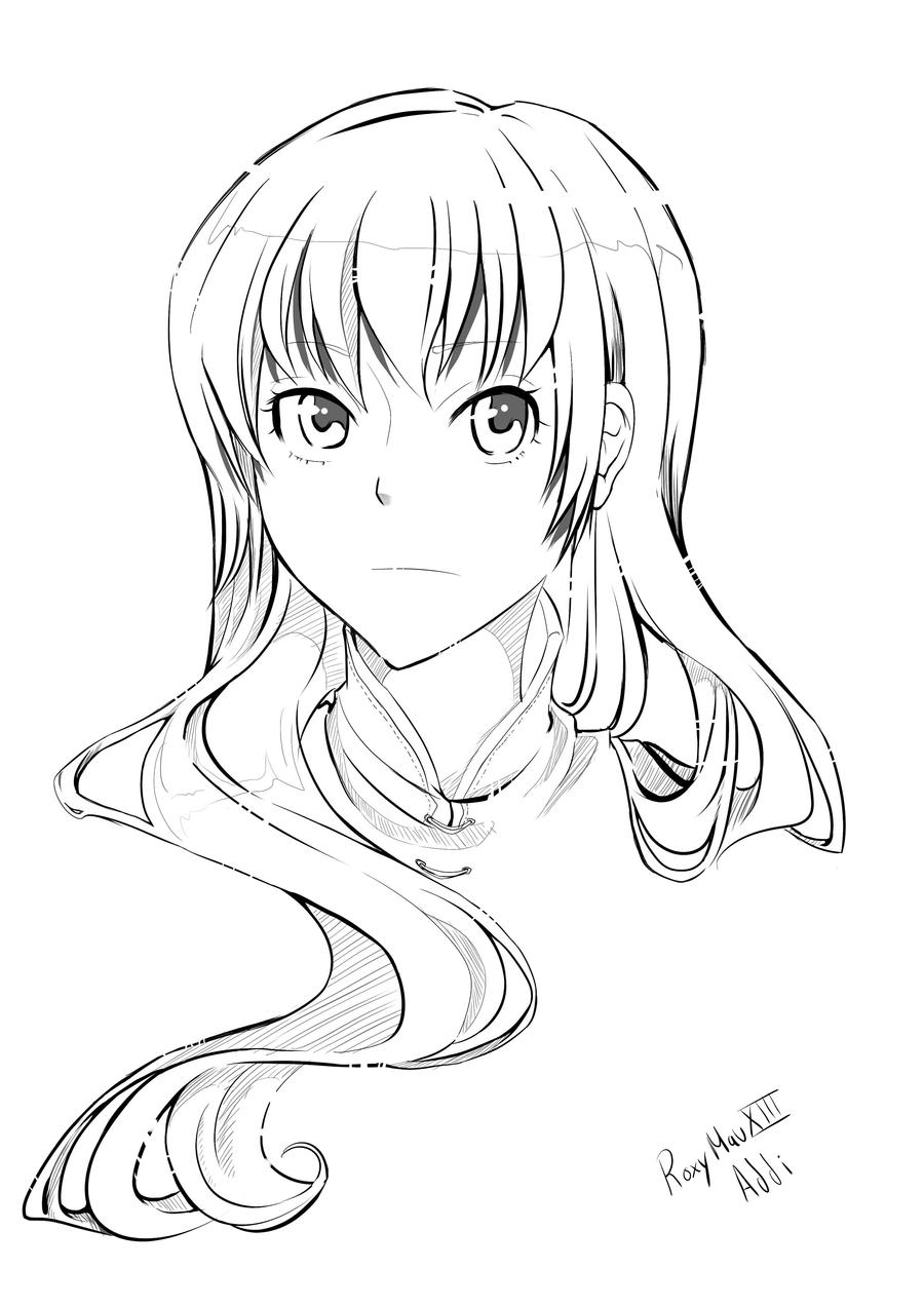 Line Drawing Of Girl : Girl lineart by addixii on deviantart