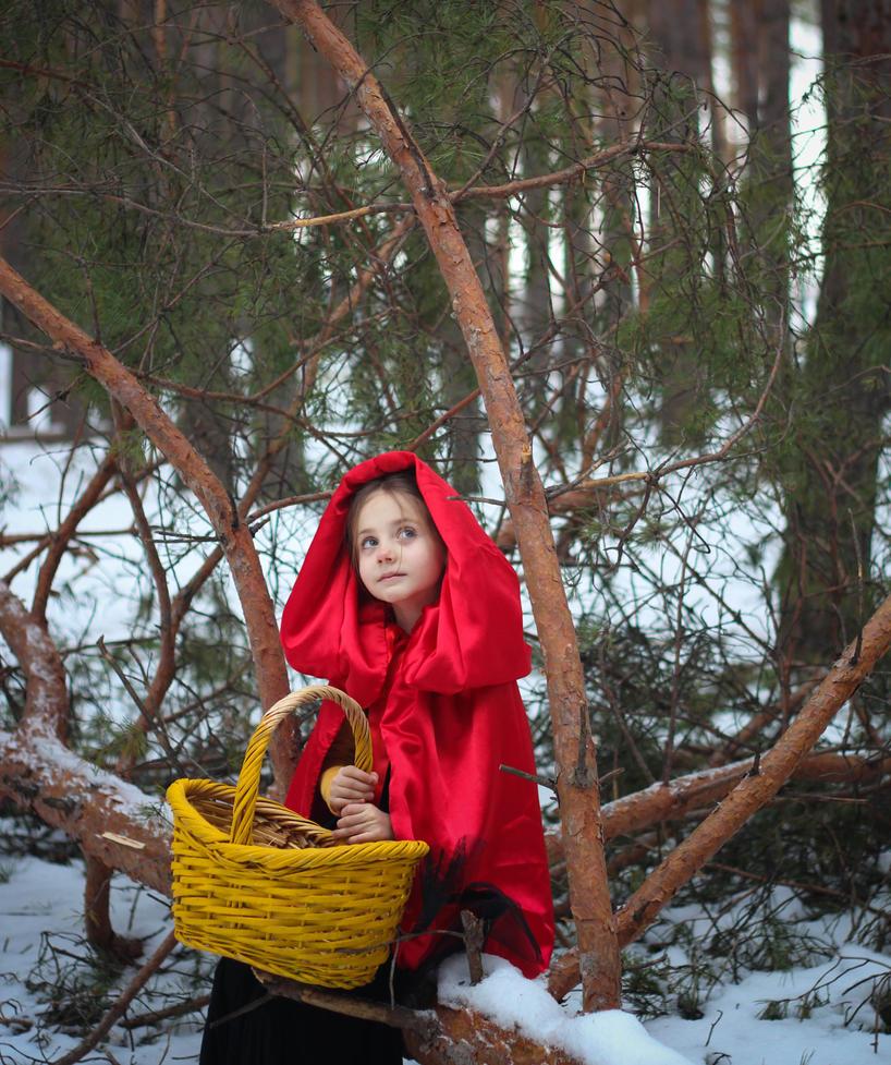 Red ridding hood in the forest by valeravalerevna