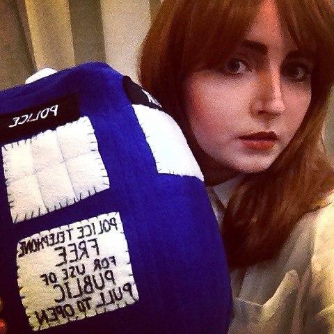 Clara Oswald and plush TARDIS by valeravalerevna