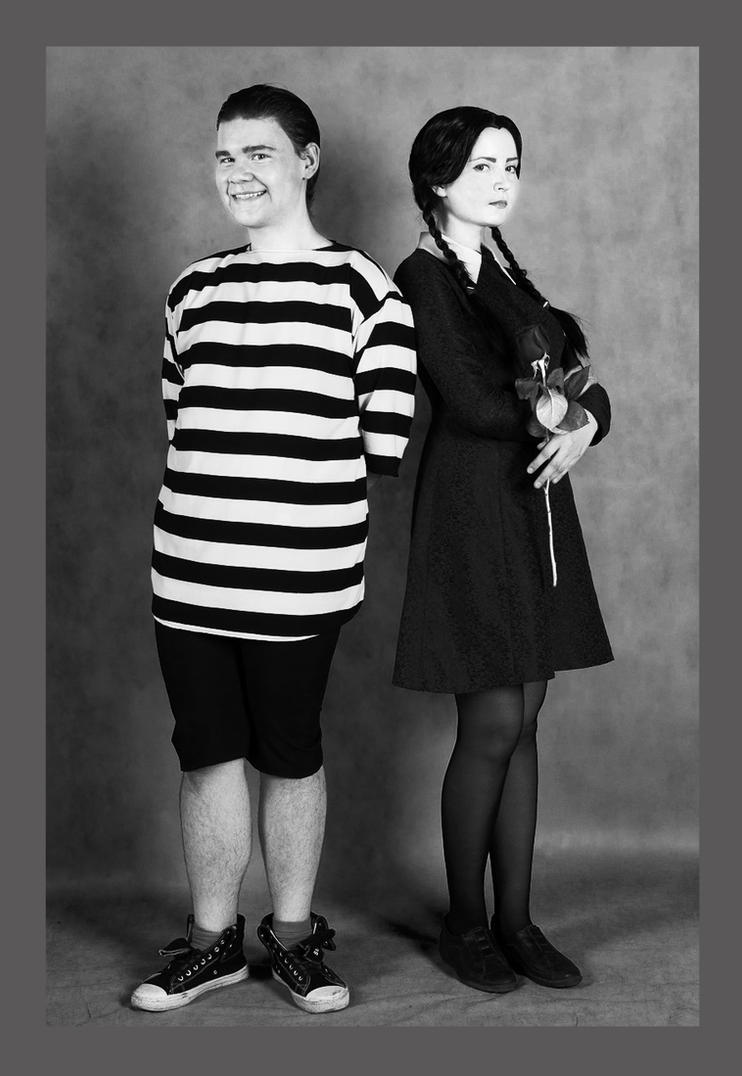 Wednesday and Pugsley Addams Cosplay by valeravalerevna