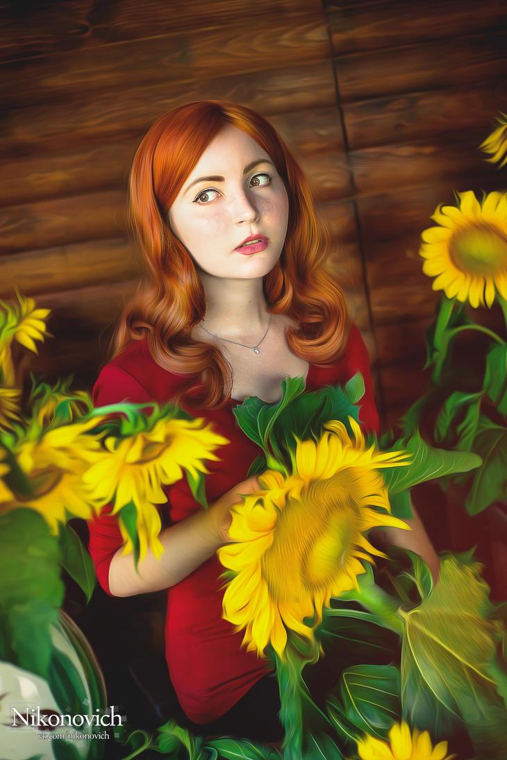 Amy Pond In Sunflowers by valeravalerevna