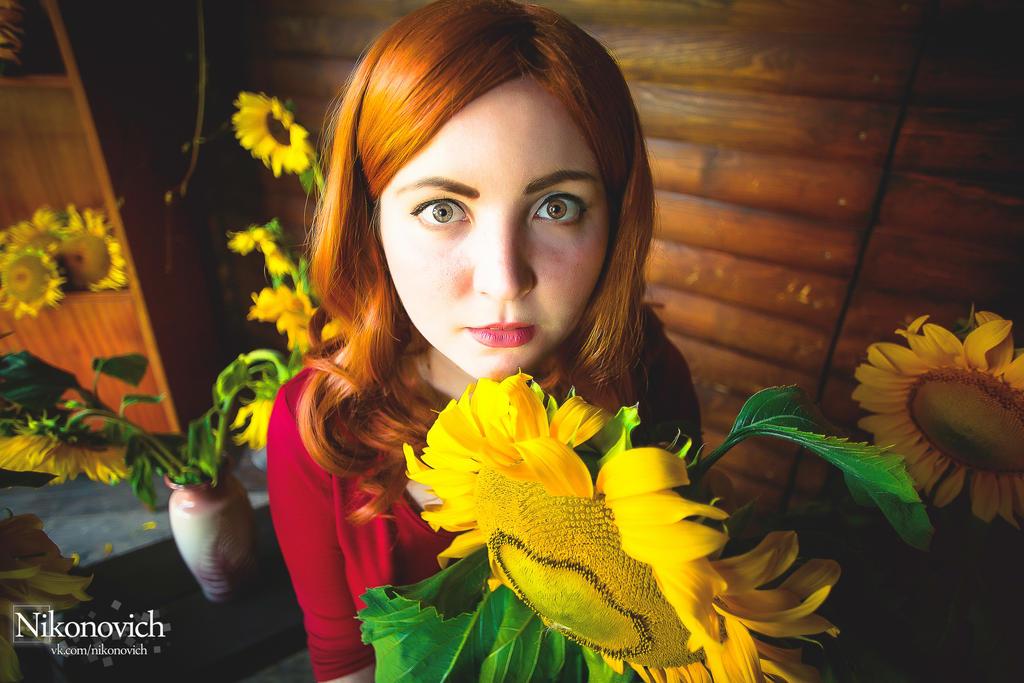 Amy and Sunflower by valeravalerevna
