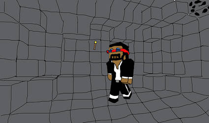 CaptainSparklez walking in a cave