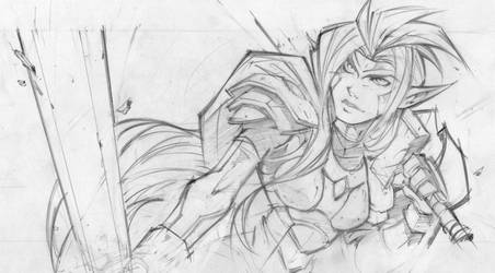 Elf Warrior - Pencils