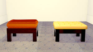 3D Foot stool with Wooden Texture by mshafimd