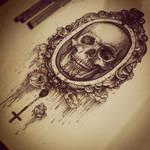 Skull with rosary.
