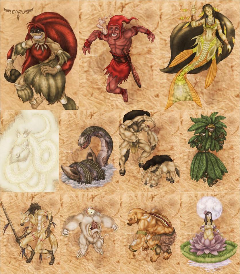 Characters - Bestiario do Folclore Nacional by elchavoman