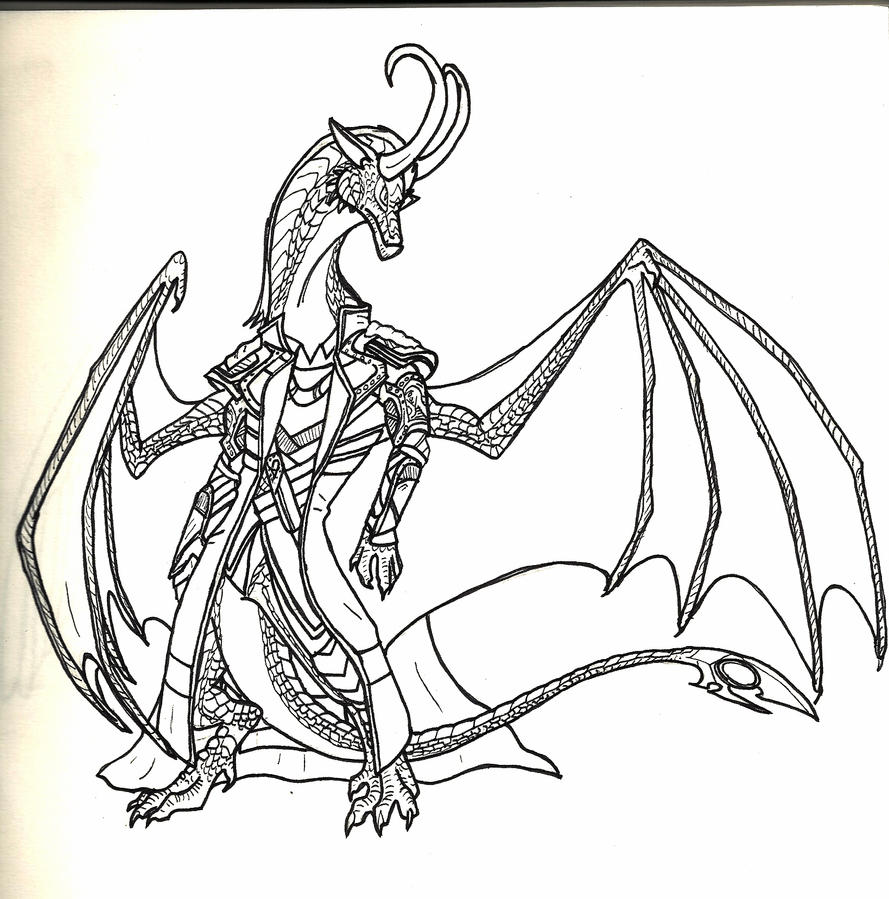 Loki Dragon Lineart by Spellcheck-15
