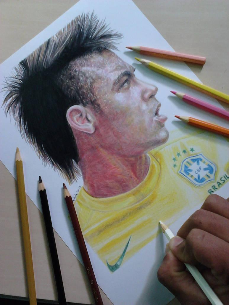 Colored pencil drawing of neymar jr by eduardo luiz