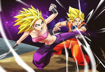 Caulifla vs Goku by WadeVezecha