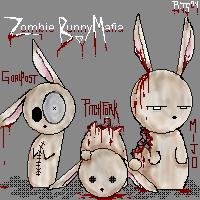 Zombie Bunny Mafia by daftplushie