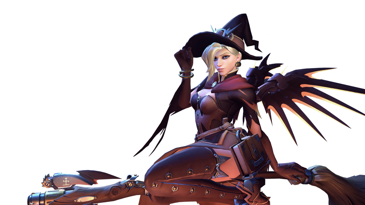 Witch mercy rides her broom by 1kmspaint