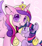 Cadance and Filly Twi