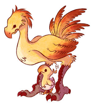 Chocobo and Chocobo Hatchling
