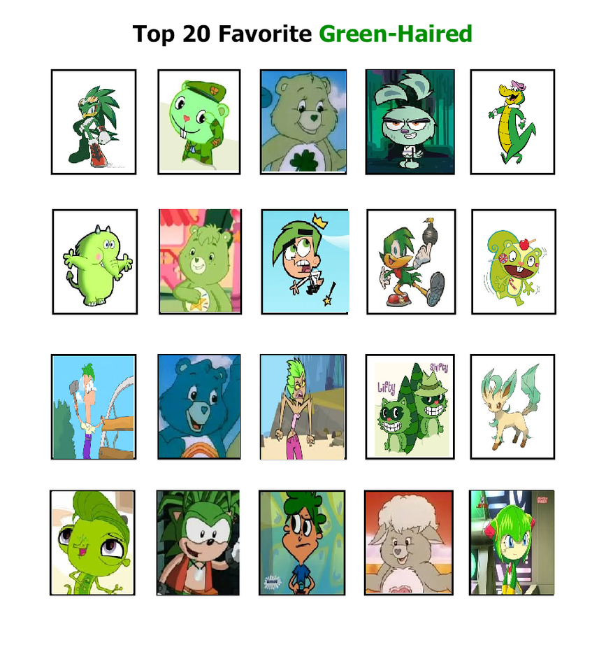 Cartoon Characters Green : My top green haired characters by cartoonstar on
