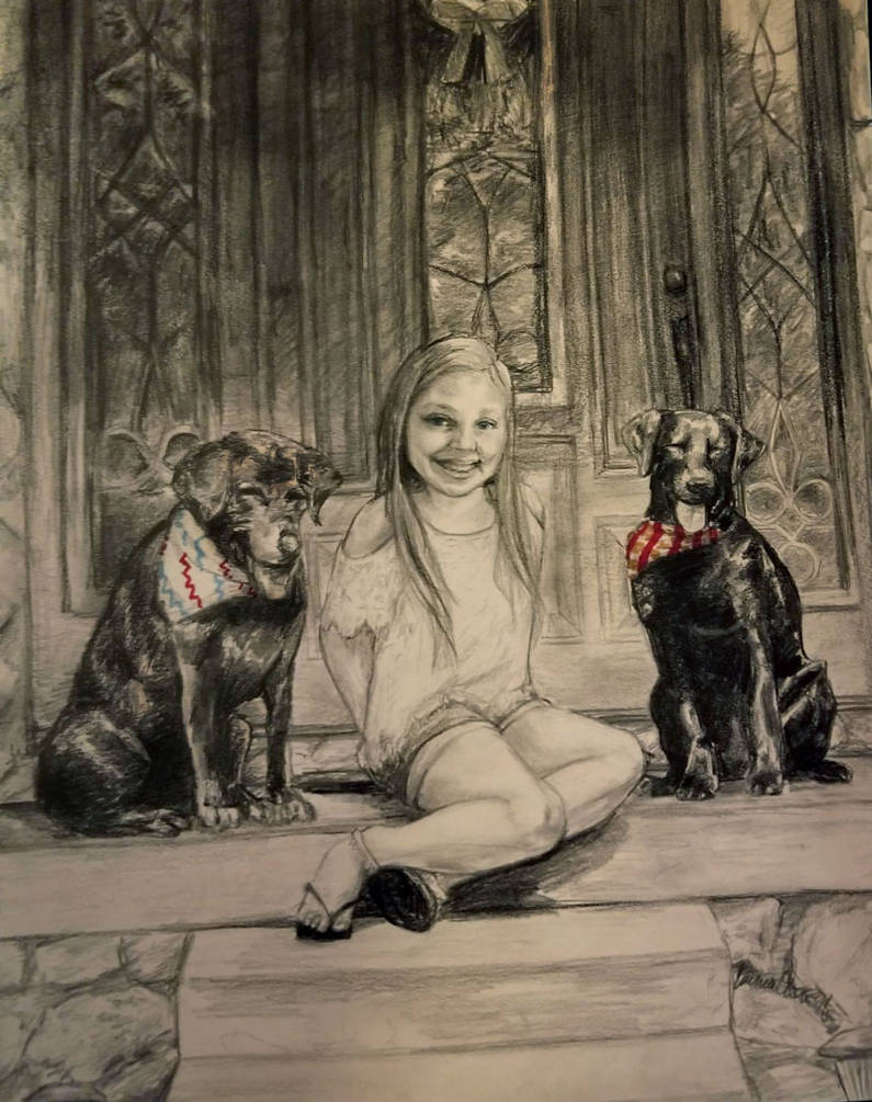 Girl with Two Pups by avaunt
