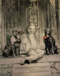 Girl with Two Pups