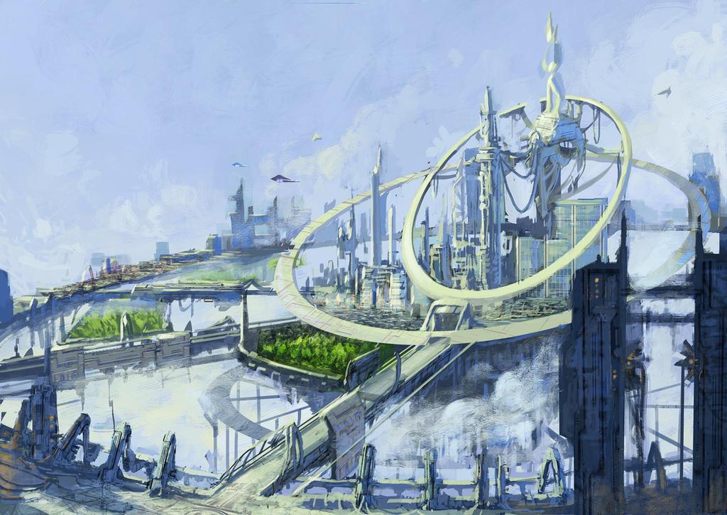Sci fi flyning city by Gnigi