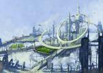 Sci fi flyning city