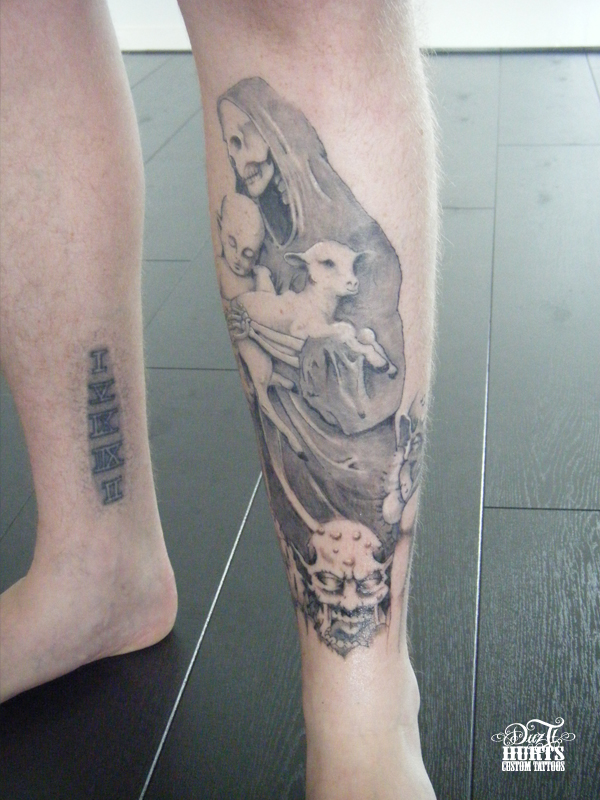 front leg tattoos. Black Bedroom Furniture Sets. Home Design Ideas