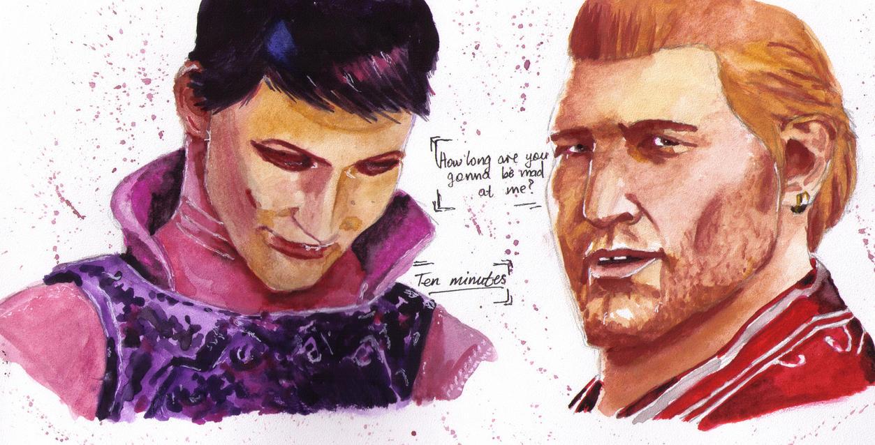 Varric and Cassandra by AyvazyanMara