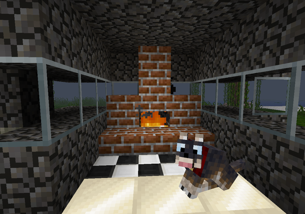 Minecraft- My fireplace and my Pet by KrissSpore