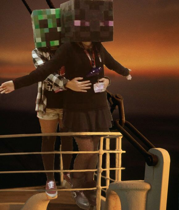 Creeper and Enderman TITANIC LOVE by Patri02