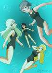 Girls in One-piece Swimsuits