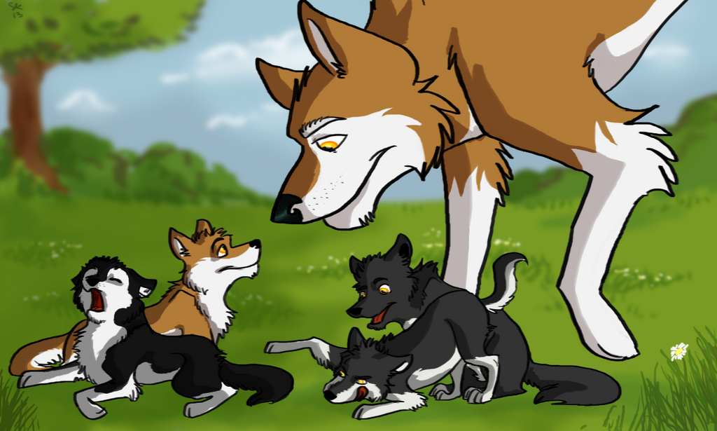 Zephyr and pups by Selsea012