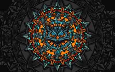 Owl Mandalathingy (in colour!) by N4u2k