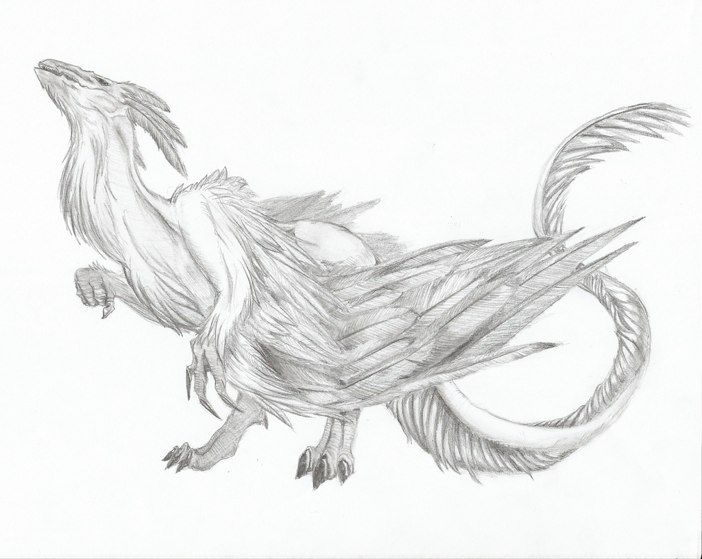 Line Art Feather : Feather dragon by guitha on deviantart
