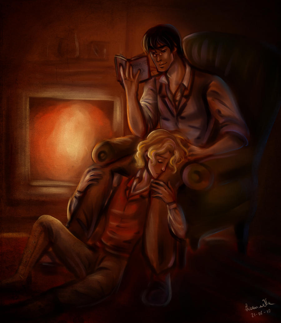 cuddling near the fireplace by fidisart on deviantart