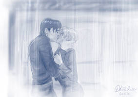 Commission - Kissing in the rain - by FidisART