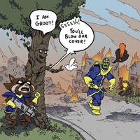 Rocket vs. I Am Groot by SquidMantis
