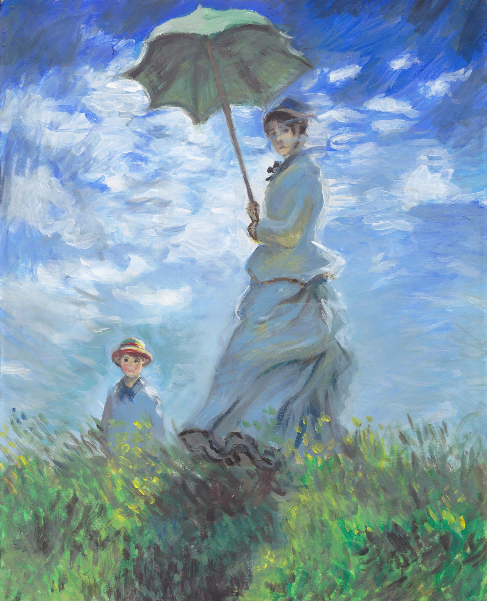Blue Paintings Of Woman And Umbrella
